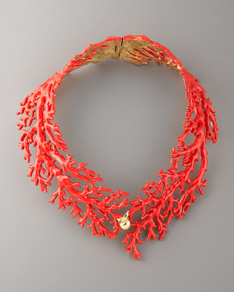 Enamel Coral Choker Necklace