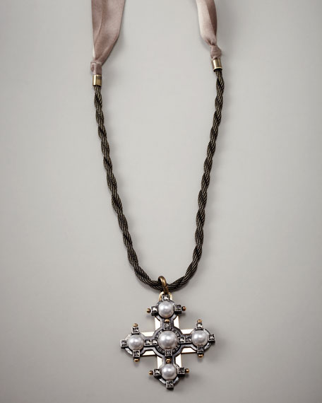 Pearlescent Cross Necklace