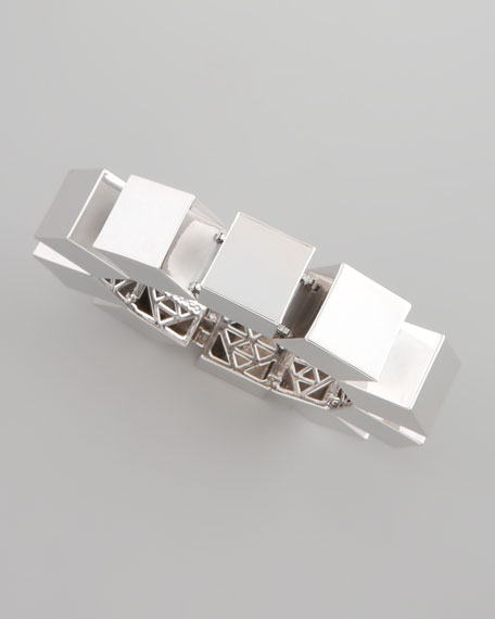 Smooth Cube Bracelet, Silver