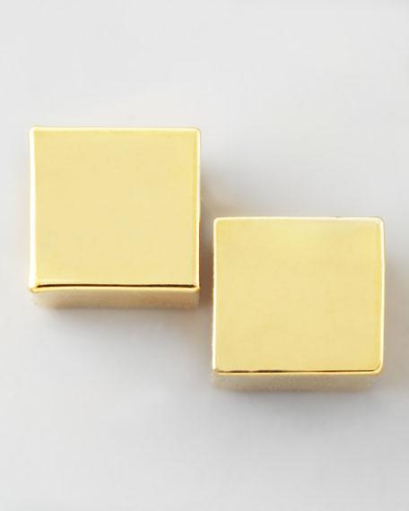 Cube Earrings, Gold