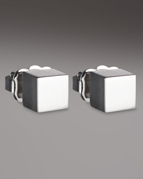 Cube Earrings, Silver