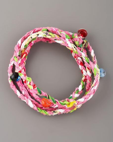 Beaded Woven Wrap Bracelet, Pink