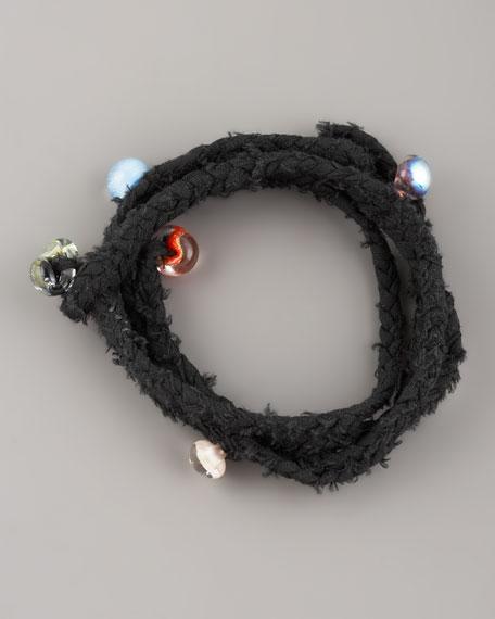 Beaded Woven Wrap Bracelet, Black