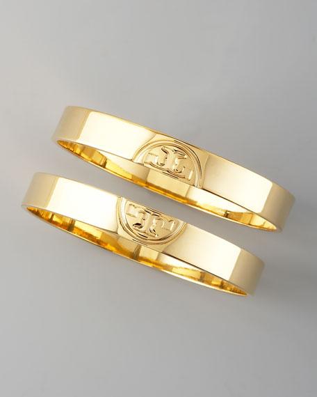 Gold Twin Logo Bangles, Two-Piece Set