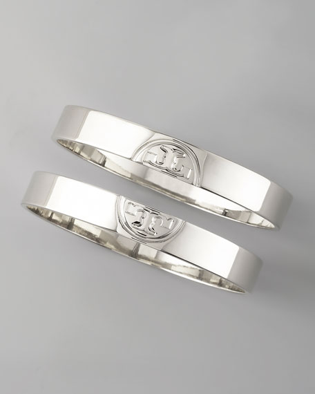 Silver Twin Logo Bangles, Two-Piece Set
