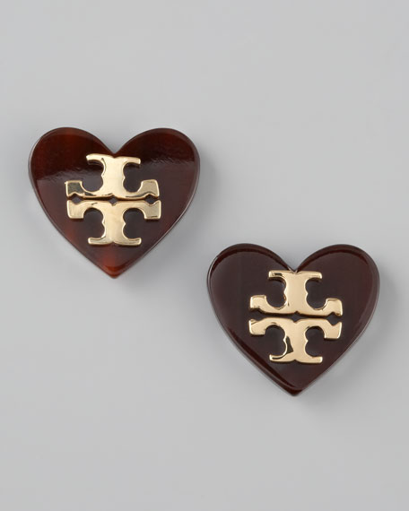 Heart Logo Stud Earrings, Brown
