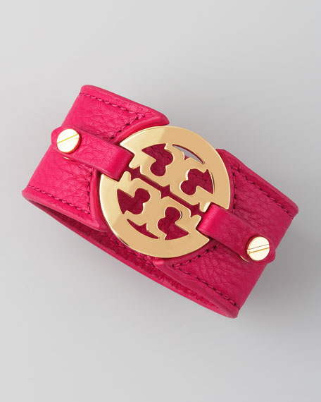 Logo Double-Snap Cuff, Raspberry