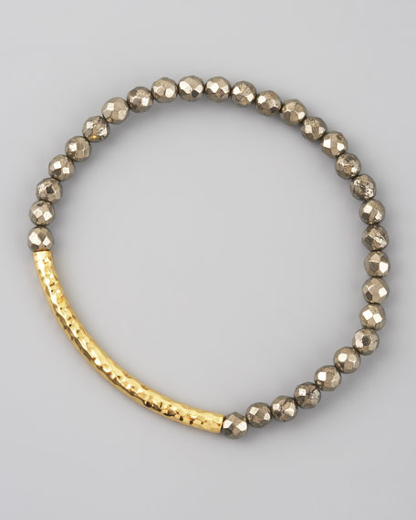 Pyrite Beaded Stretch Bracelet