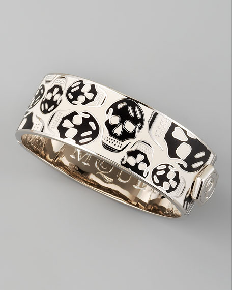 Medium Enamel Skull Bracelet, White/Black