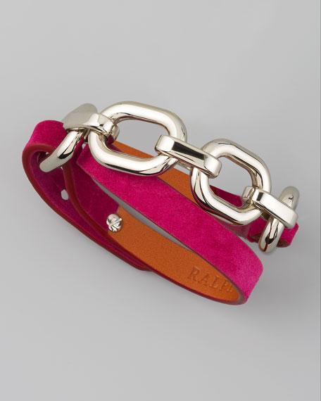 Suede Wrap Bracelet, Fuchsia