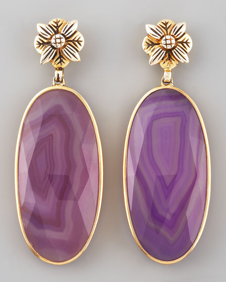 Purple Agate Quartz Earrings