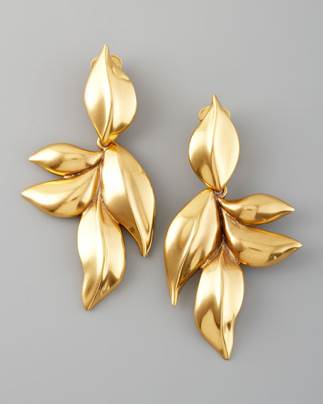 Gold Leaf Clip Earrings