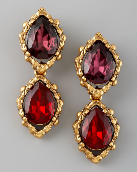 Double-Drop Clip Earrings
