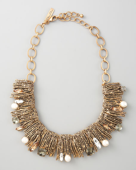 Pearl-Detailed Branch Bib Necklace