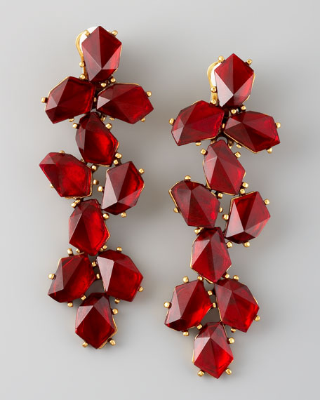 Clustered Crystal Drop Earrings, Red