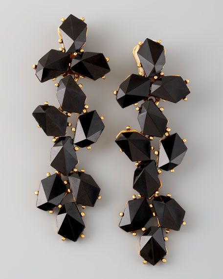 Clustered Crystal Drop Earrings, Black
