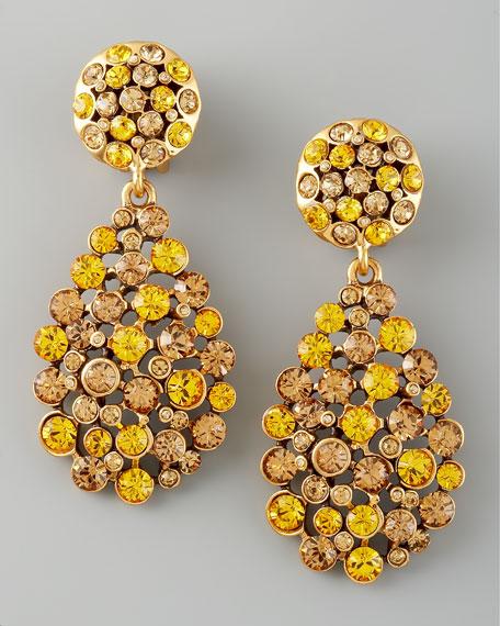 Crystal Teardrop Earrings, Yellow