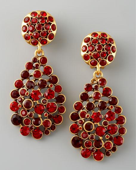 Crystal Teardrop Earrings, Red