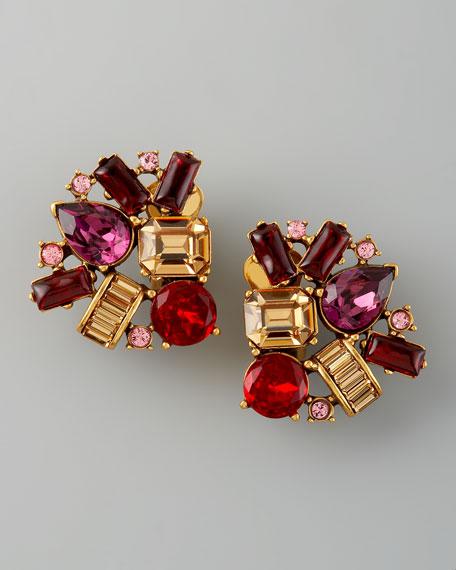 Crystal Cluster Clip Earrings