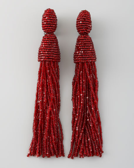 Beaded Tassel Earrings, Garnet