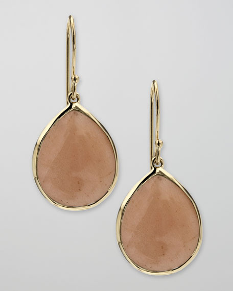 Peach Moonstone Teardrop Earrings