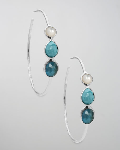 Three-Stone Wonderland Hoop Earrings