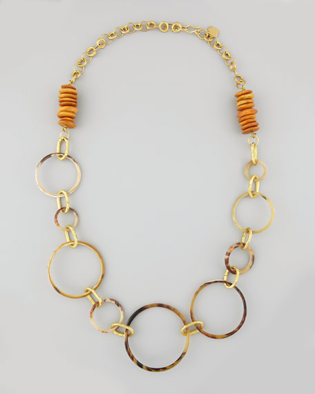 "Tundu Mixed Horn Necklace, 40""L"