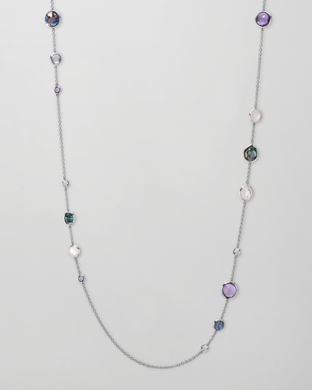 "Multi-Stone Scultura Station Necklace, 52""L"