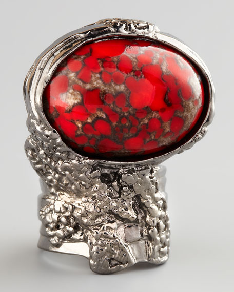 Red Glass Arty Ring, Silvertone