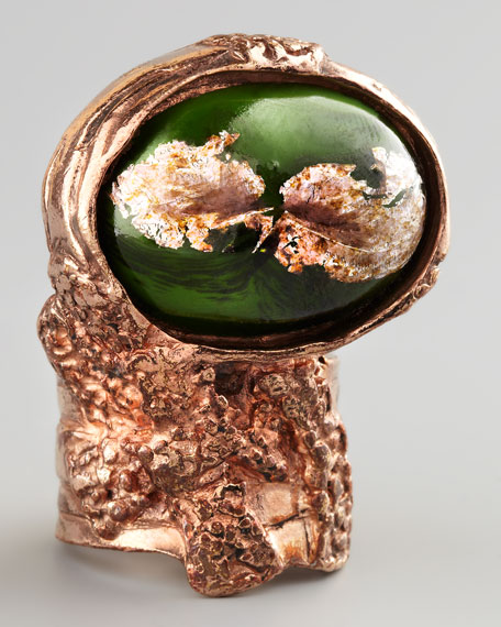 Green Glass Arty Ring, Rose Golden