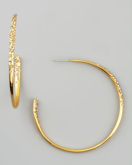 Crystal-Encrusted Hoop Earrings