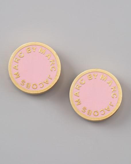 Enamel Logo Disc Stud Earrings, Rose