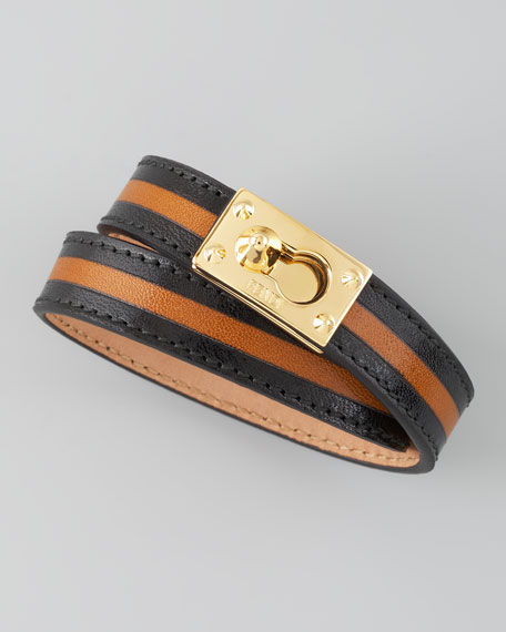 Two-Tone Leather Wrap Bracelet