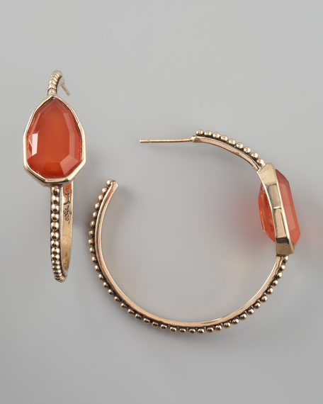Red Agate Cathedral Hoop Earrings
