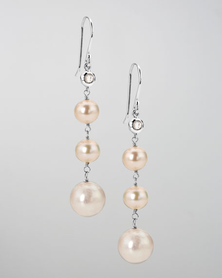 Pearl & Diamond Rain Drop Earrings