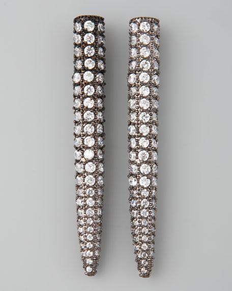 Pave Crystal Spike Earrings, Gunmetal