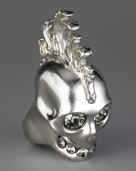 Mohawk Skull Ring, Silvertone