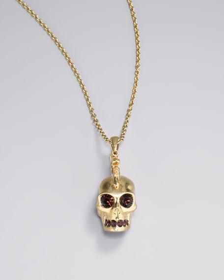 Golden Mohawk Skull Pendant Necklace