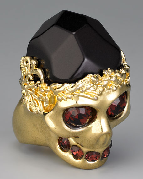 Stone-Detailed Skull Ring, Golden