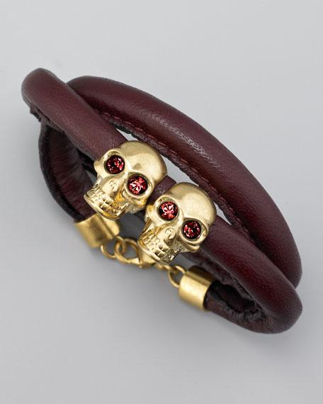 Twin Skull Wrap Bracelet, Oxblood