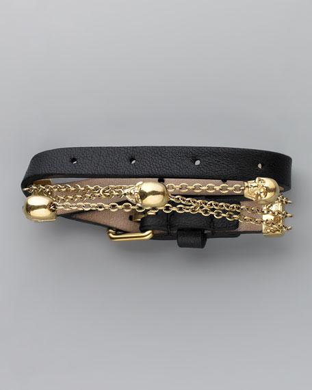 Chain & Leather Wrap Bracelet, Black