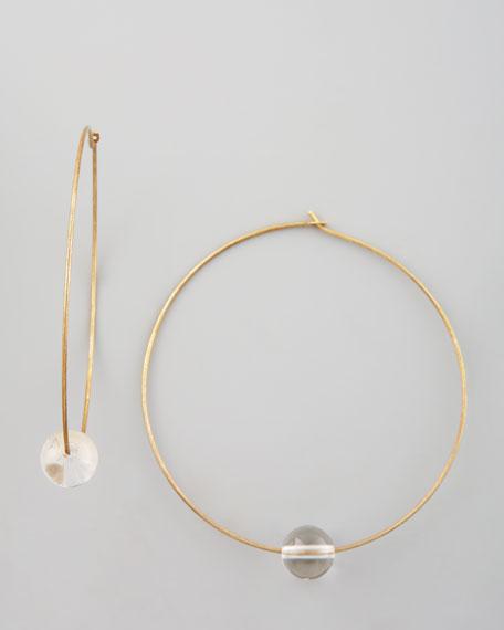 Quartz Sphere Hoop Earrings