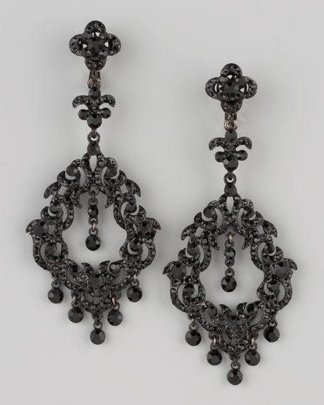 Chandelier Earrings, Jet Black