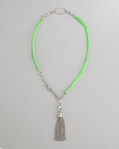 Neon Tassel Necklace, Lime