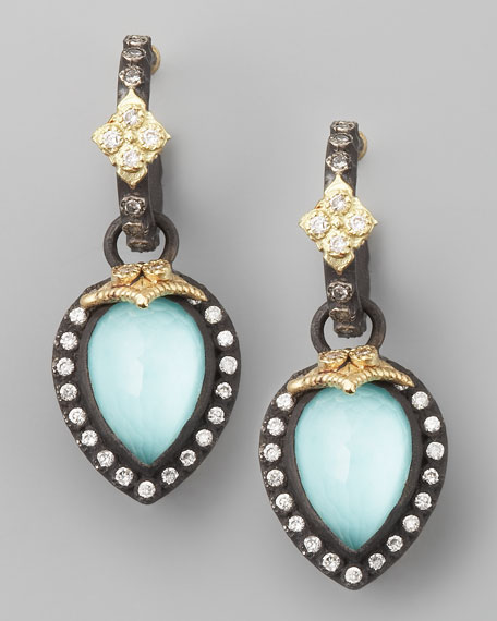 Pear-Cut Green Turquoise Earrings