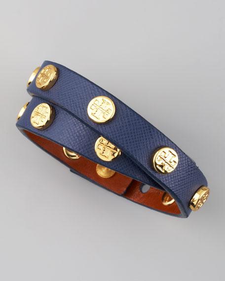 Logo-Studded Saffiano Wrap Bracelet, Navy