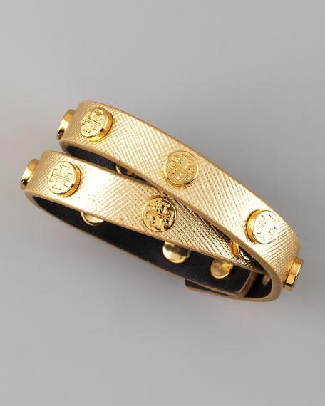 Logo-Studded Saffiano Wrap Bracelet, Gold