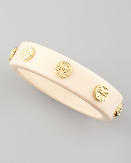 Logo-Stud Resin Bangle, Ivory