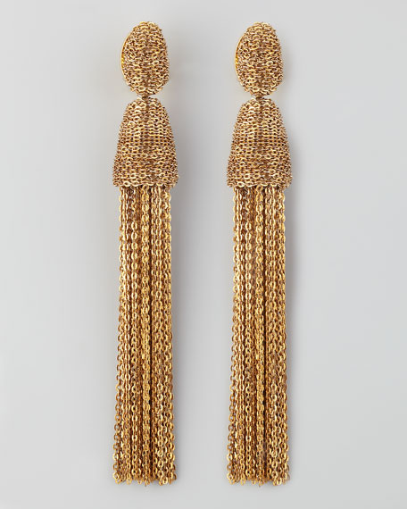 Chain Tassel Earrings, Golden
