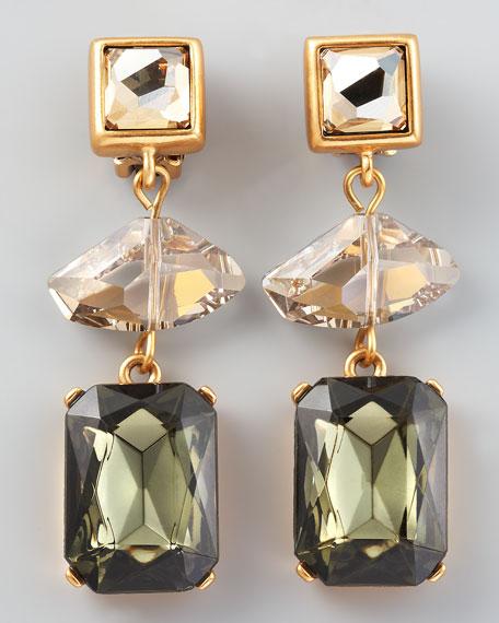 Geometric Crystal Clip Earrings, Gray